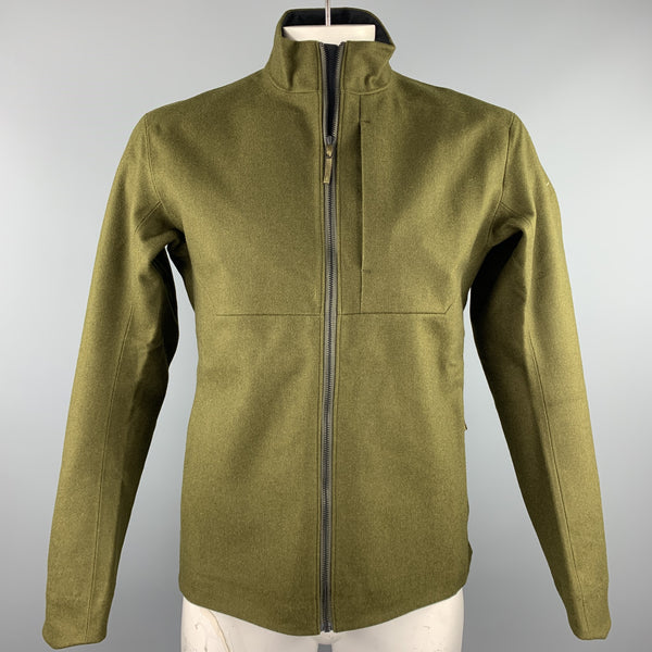 ARCTERYX Size M Olive Wool Zip Up High Collar Diplomat Jacket