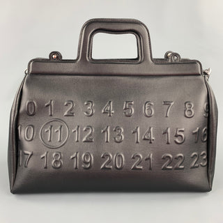 MAISON MARGIELA Black Embossed Leather Briefcase Bag