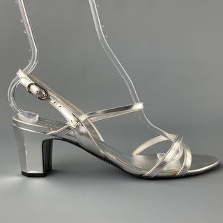 CHANEL Size 9.5 Silver Leather Strappy Sandals