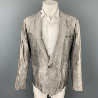PAUL SMITH Size M Grey Textured Silk Shawl Collar Sport Coat