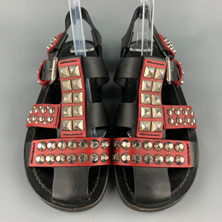 PRADA S/S 18 Size 8 Black & Burgundy Studded Leather Gladiator Sandals