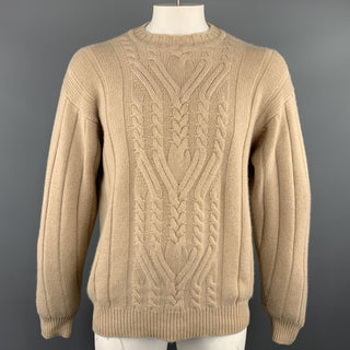 MANRICO Size L Tan Cable  Cashmere Crew-Neck Sweater
