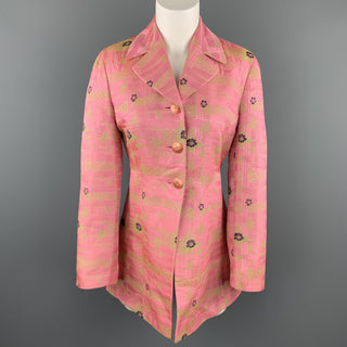 CHRISTIAN LACROIX Size 6 Pink & Green Floral Jacquard Coat