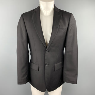 JOHN VARVATOS  U.S.A. Size 36 Black Wool Peak Lapel Sport Coat