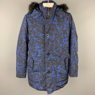 MICHAEL KORS Weather Engineered Size XL Black & Blue Print Polyester Hooded Parka Coat