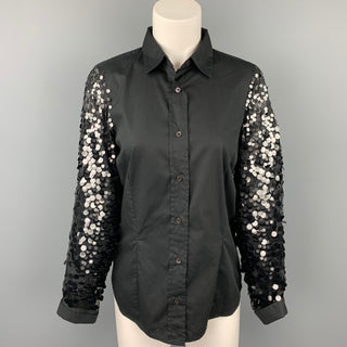 DRIES VAN NOTEN Size 6 Black Cotton / Silk Sequined Sleeves Blouse