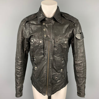 DIESEL Size M Black Wrinkled Leather Zip Up Jacket