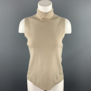 DONNA KARAN Size L Beige Knitted Cashmere Turtleneck Casual Top