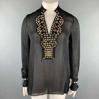 GIVENCHY 10 Black Gold Studded Silk Chiffon Resort 2010 Blouse