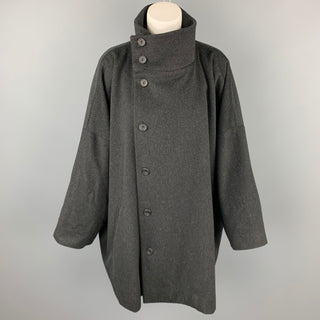 ESKANDAR Size L Charcoal Heather Wool / Cashmere Oversized High Collar Coat