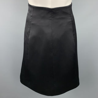 RALPH LAUREN Size 4 Black Silk Wool A-Line Skirt