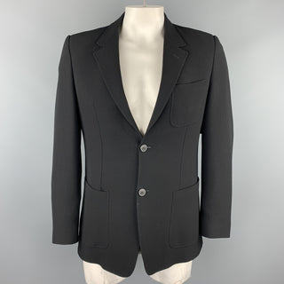 EMPORIO ARMANI Size 44 Black Textured Notch Lapel Sport Coat