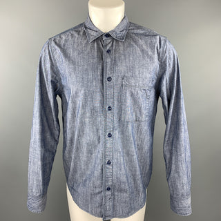 HOME WORK Size M Blue Contrast Stitch Cotton Button Up Long Sleeve Shirt