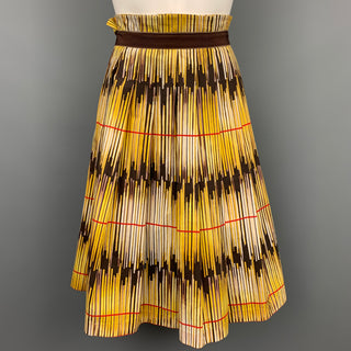 ROZAE NICHOLS Size L Yellow Brown Cotton Skirt