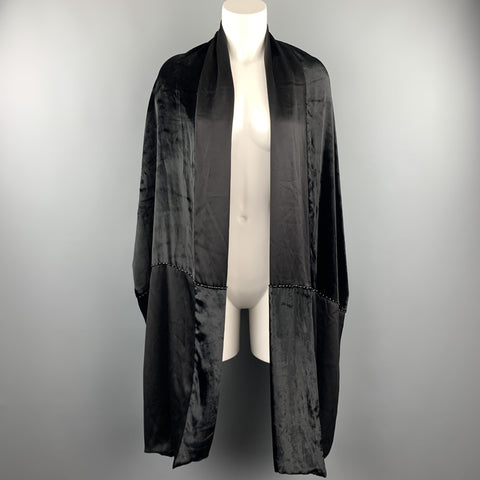 VINTAGE Black Mixed Materials Velvet Silk Beaded Shawl