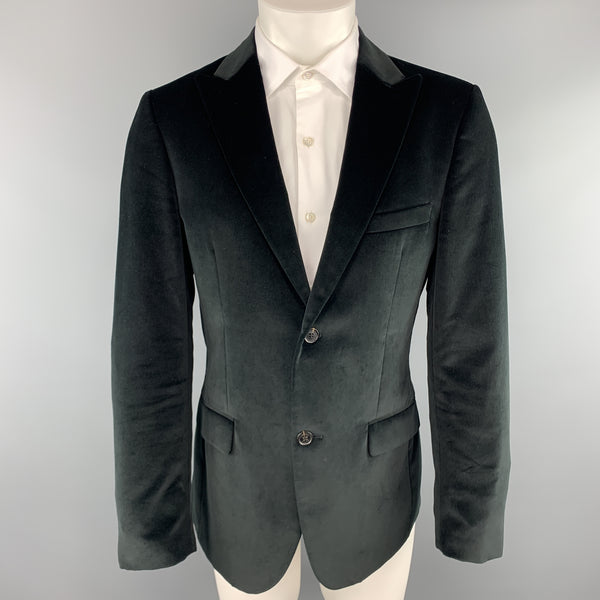CALVIN KLEIN COLLECTION Size 38 Short Black Cotton Velvet Peak Lapel Sport Coat
