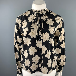 VINTAGE Size L Black & White Floral Buttoned Blouse
