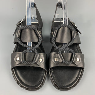 RALPH LAUREN Size 9 Black Leather & Rope Gladiator Sandals