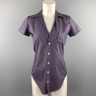 HAZEL BROWN Size 2 Purple Contrast Stitch Cotton Short Sleeve Shirt