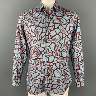 SALVATORE FERRAGAMO Size L Blue & Burgundy Giraffe Print Cotton Long Sleeve Shirt