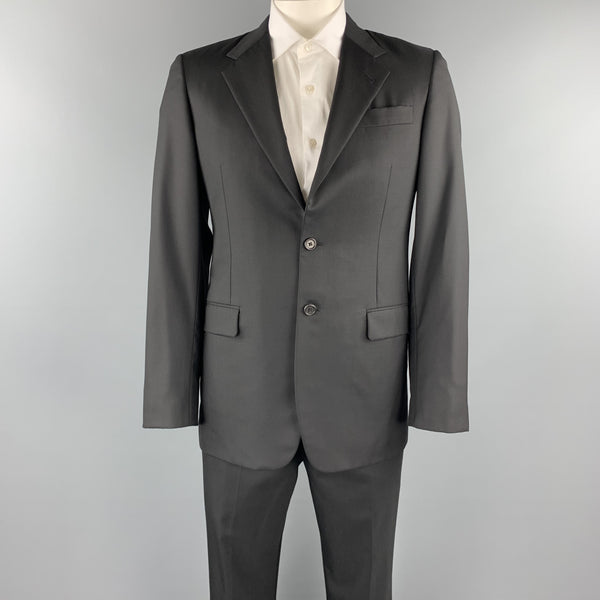 PRADA 40 Regular Black Wool / Silk Notch Lapel Suit