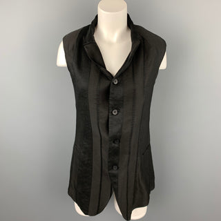 MASNADA Size XS Black Linen Blend Notch Lapel Vest