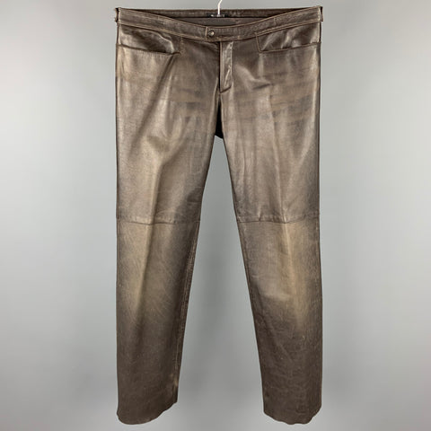 NEIL BARRETT Size M Brown Distressed Leather Zip Fly Casual Pants
