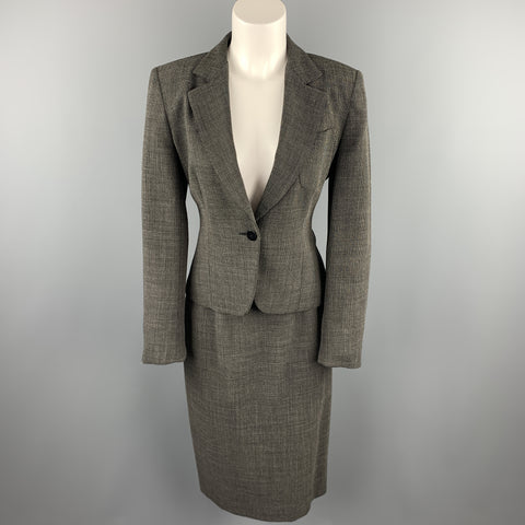 MAX MARA Size 8 Black Woven Virgin Wool Blend Pencil Skirt Suit
