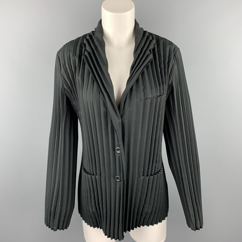 ISSEY MIYAKE Size L Black Pleated Polyester Buttoned Jacket
