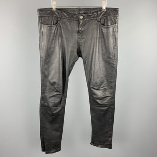 ALLSAINTS SPITALFIELDS Size 30 Black Leather Biker Jean Cut Pants