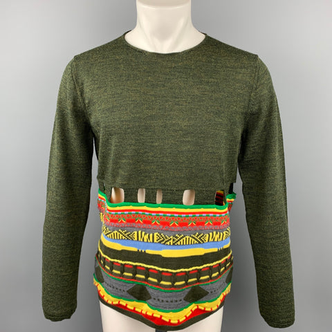 COMME des GARCONS Size L Olive & Multi-color Knitted Wool Blend Cut Out Pullover Sweater