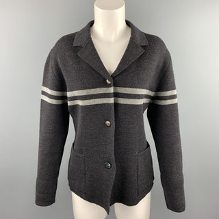 GIULIANO FUJIWARA Size L Gray Knitted Stripe Wool Buttoned Jacket