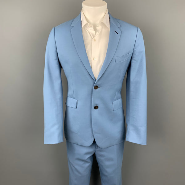 PAUL SMITH Kensington Fit Size 38 Regular Light Blue Wool Notch Lapel Suit