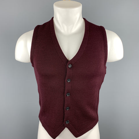 UNITED ARROWS Size S Burgundy Knitted Wool Buttoned Vest