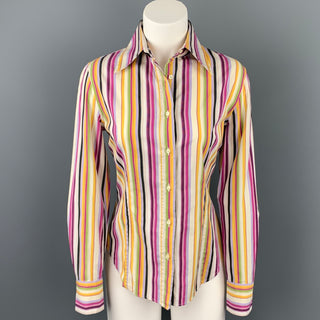 ETRO Size 8 Multi-Color Poplin Stripe Cotton Button Up Blouse