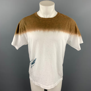 45rpm Size L Brown & White Ombre Cotton Crew-Neck T-shirt