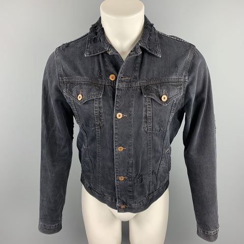 NSF Size XS Black Distressed Denim Trucker Jacket