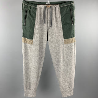 KOLOR Size L Grey & Green Mixed Fabrics Wool / Cashmere Sweatpants