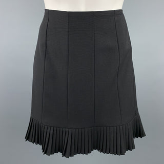 DRIES VAN NOTEN Size 6 Black Wool / Nylon Pleated Mini Skirt