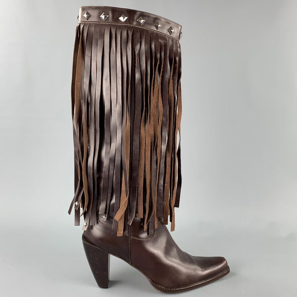 DONALD J PLINER Size 10 Brown Leather Studded Fringe Pointed Toe Boots