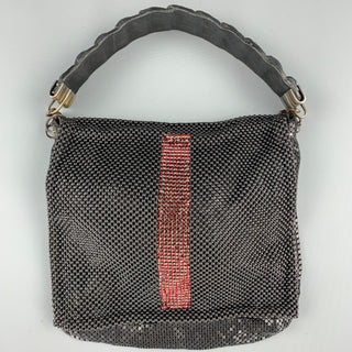 LAURA B Black Mesh Metal Alligator Evening Handbag