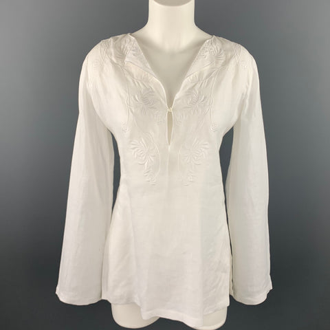 RALPH LAUREN Black Label Size 8 White Embroidered Linen Tunic Blouse