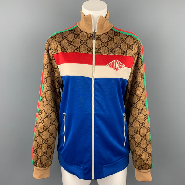 GUCCI Pre-Fall 2018 Size S Blue & Multi-Color Polyester / Cotton Zip Up GG Technical Jersey Jacket