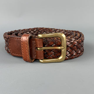 VINTAGE Size 36 Woven Brown Leather Gold Tone Brass Buckle Belt