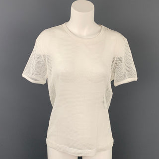 DRIES VAN NOTEN Size L White Mesh Cotton T-Shirt