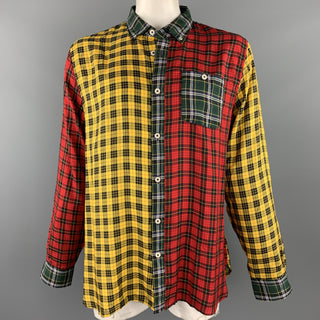 TODD SNYDER x ALBIATE Size XXL Multi-Color Plaid Lyocell Button Down Long Sleeve Holiday Cocktail Shirt