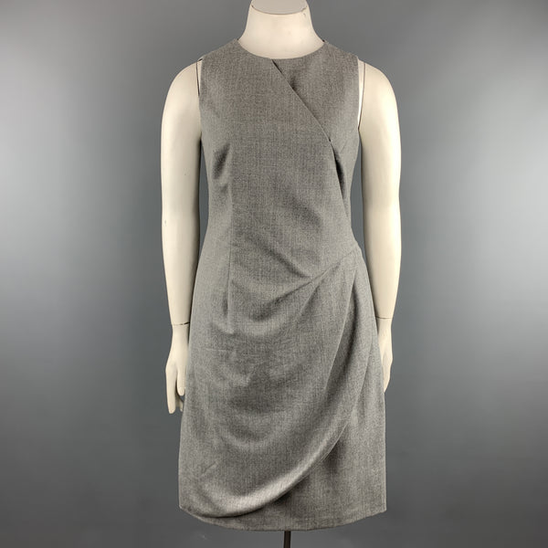 GIORGIO ARMANI Size 10 Heather Grey Virgin Wool Blend Sleeveless Drape Dress