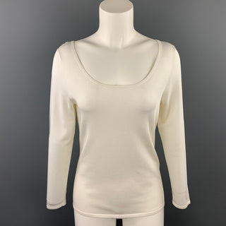 RALPH LAUREN Black Label Size M Off White Viscose Blend Casual Top