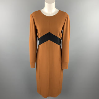 BURBERRY PRORSUM Size 10 Rust Brown Color Block Crepe A-Line Dress