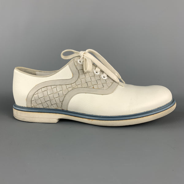 BOTTEGA VENETA Size 12 White & Grey Woven Leather Contrast Trim Lace Up Shoes